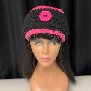Pixie pink /Coal headband handmade